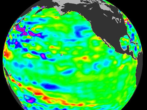 This image from NASA's Jason satellite shows near normal conditions across the equatorial Pacific Ocean.