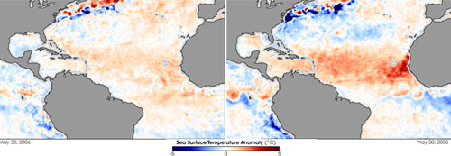Side by side images showing the difference in sea surface temperatures at the start of both the 2005 and 2006 hurricane season.