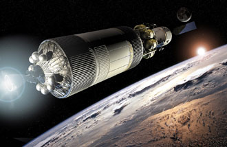 Earth Departure Stage fires to take the Crew Exploration Vehicle and lunar lander to the moon
