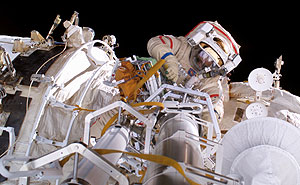 ISS013-E-28984 -- Cosmonaut Pavel Vinogradov participates in the first extravehicular activity.