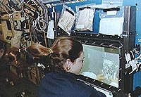 An astronaut does an experiment during a spaceflight
