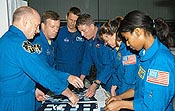 The STS-121 crew participates in a preflight test