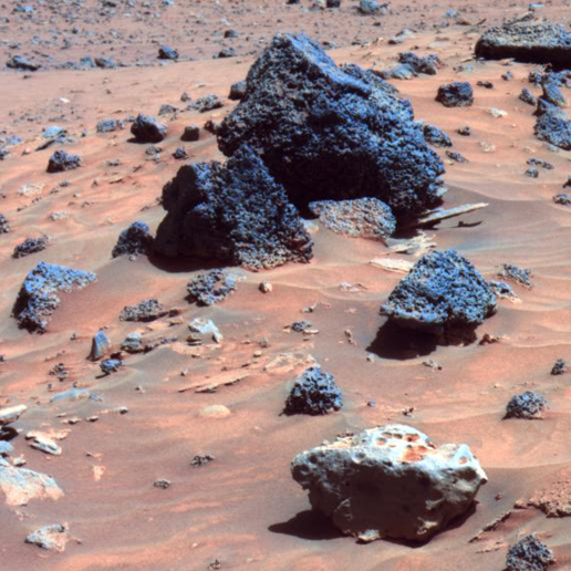Possible Meteorite in 'Columbia Hills' on Mars (False Color)