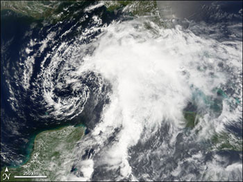 Terra satellite image of Tropical Storm Alberto on June 12, 2006.