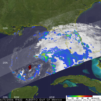 TRMM captured this image of Tropical Storm Alberto on June 11, 2006.