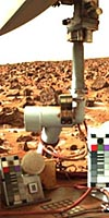 Viking photo showing a portion of the spacecraft and the surrounding Martian terrain