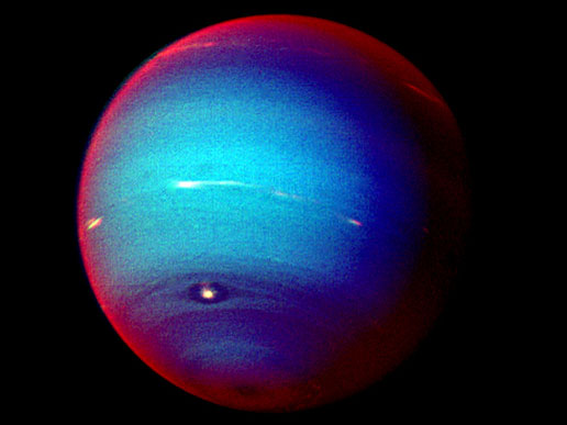 A false-color photograph of Neptune, made from Voyager 2 images taken in January 1996