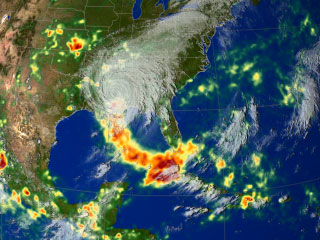 Still from animation showing the rain accumulation from Hurricane Katrina.