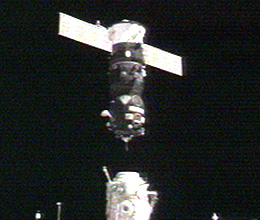 The Progress 22 cargo spacecraft as it approaches the Pirs docking compartment