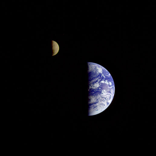 This image of the Earth and moon in a single frame, the first of its kind ever taken by a spacecraft, was recorded Sept. 18, 1977, by Voyager 1.