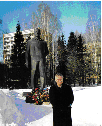 The author in front of the statue of Yuri Gagarin in Star City outside Moscow, home of the cosmonauts and site of their training since 1965.  The statue was unveiled in 1971.  Gagarin, the first human in space, remains an icon in Russia long after his death, and all crews lay flowers at the statue before and after their missions.  American astronauts also train here on joint missions.