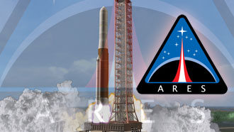 Ares V launch with Ares program logo