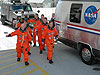 STS-121 astronauts board van to launch pad.