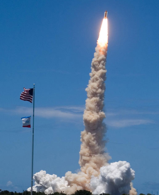Space Shuttle Discovery lifted off from Kennedy Space Center in a spectacular display of sound and light befitting of Independence Day.