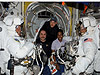 STS-121 Mission Specialists Piers Sellers, Michael Fossum, Stephanie Wilson, Pilot Mark Kelly and cosmonaut Pavel Vinogradov.
