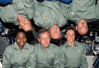 The STS-121 crewmembers pose for an in-flight photo in the Destiny laboratory.