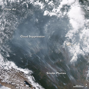 MODIS Image of smoke over Brazil and Bolivia from September 2005