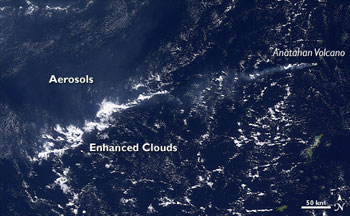 Some types of air pollution can help clouds to form and storms to grow stronger. In this April 2006 image from the NASA Terra satellite, a plume of aerosol pollution from the Anatahan volcano in the western Pacific Ocean leaves more clouds in its wake.