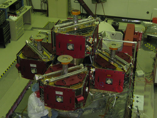 All five THEMIS probes mounted on the Probe Carrier at the Jet Propulsion Laboratory, Pasedena, CA