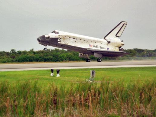 Space Shuttle Discovery lands at Kennedy Space Center, following the successful STS-121 mission.