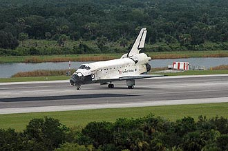 Discovery slows to a stop after landing at NASA's Shuttle Landing Facility.