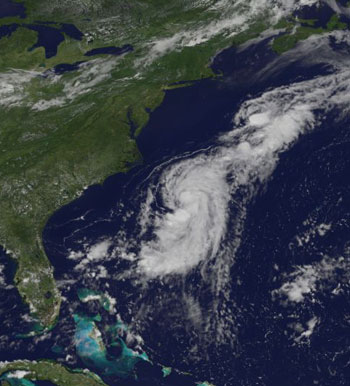 GOES image of the second tropical depression of 2006 in the Atlantic.