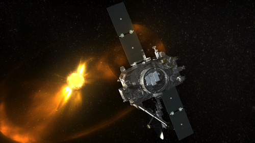 Artist's concept showing a coronal mass ejection (CME) sweeping past STEREO.