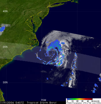 TRMM image of Tropical Storm Beryl