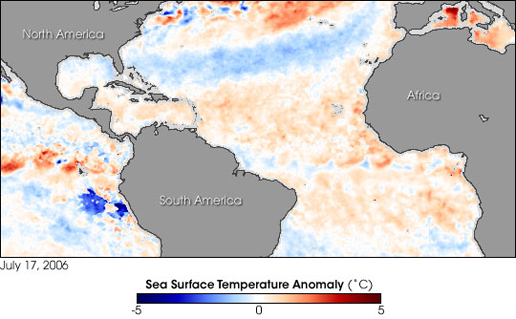 Image showing the sea surface temperature differences in the oceans on Earth.