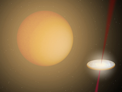 An illustration depicting the probable arrangement of a red giant star and a white dwarf in orbit around each other.