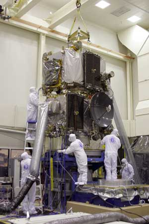 APL mission personnel prepare the twin observatories for prelaunch checks at Goddard.