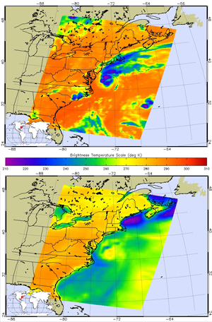 Two AIRS images showing Tropical Storm Beryl over the Atlantic Ocean
