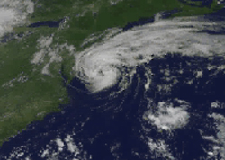 Screenshot from a GOES animation showing Tropical Storm Beryl.