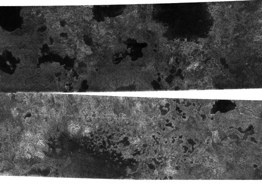 two radar views from Cassini show very strong evidence for hydrocarbon lakes on Titan