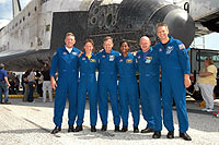 The STS-121 crew after landing at Kennedy Space Center.