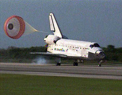 Space shuttle Discovery lands at Kennedy Space Center in Florida