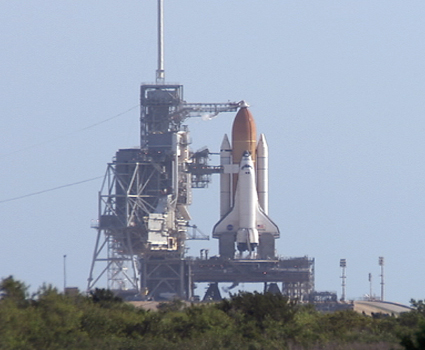 Space shuttle Atlantis stands ready to fly at Launch Pad 39A