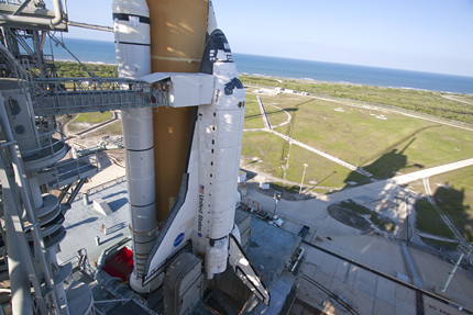 Space shuttle Atlantis at Launch Pad 39A after rollback of the rotating service structure
