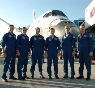 The STS-115 crew with Atlantis.