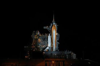 Atlantis on the launch pad. Photo credit: NASA/Jim Grossmann