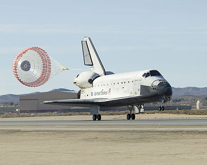 Space shuttle Endeavour lands at Edwards AFB