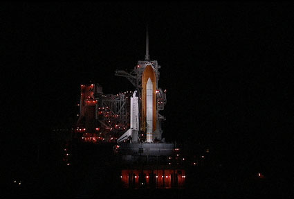 Space shuttle Endeavour is bathed in light on Launch Pad 39A.