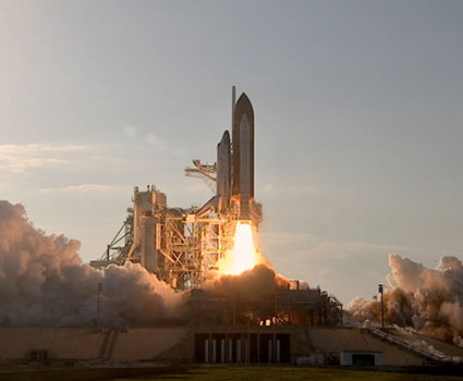 Discovery lifts off.