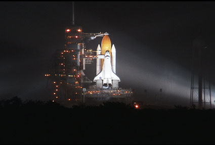 Rain falls at the launch pad.
