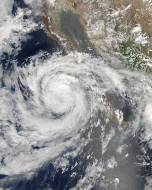 Hurricane Emilia captured by the Aqua satellite on July 27, 2006.