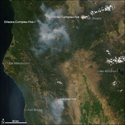 MODIS Image of Northern California Fires