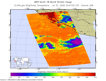 This is an infrared image of Tropical Storm Gilma, which is at the bottom right side of image, in the eastern Pacific, from the Atmospheric Infrared Sounder on NASA's Aqua satellite on July 31, 2006.