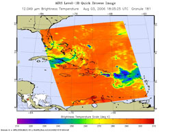 This is an infrared image of Tropical Storm Chris in the western Atlantic, from the Atmospheric Infrared Sounder instrument on NASA's Aqua satellite on Aug. 3, 2006.