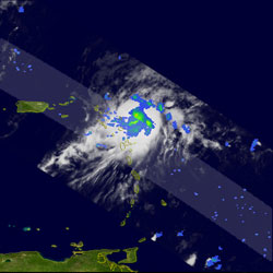 This image was taken at 7:25 pm EDT August 1, 2006, by TRMM, just as Chris was about to pass northeast of Barbuda.