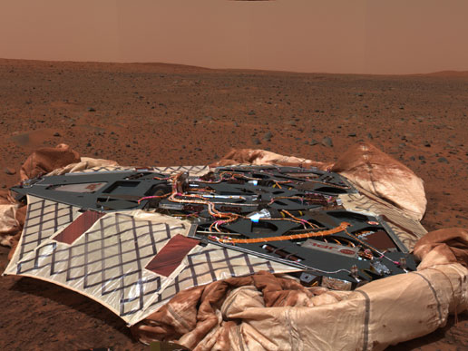 Landing site of the Mars Exploration Rover Spirit, the Columbia Memorial Station, at Gusev Crater
